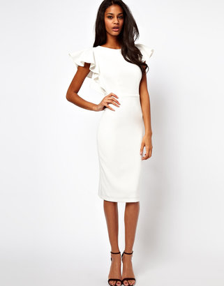 Asos Pencil Dress with Ruffle Sleeves