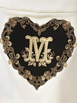 Moschino Heart Pleated Light Wool Toile Skirt