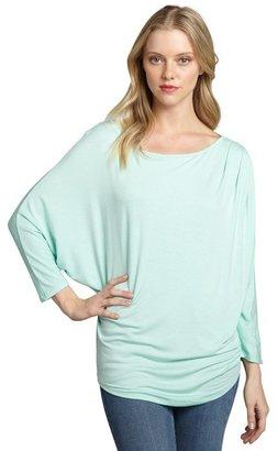 Loveappella mint jersey knit pleated shoulder dolman top