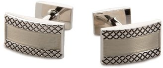 Nautica Men's Polished Diagonal Engraved Lines Cufflinks