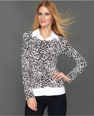 INC International Concepts Petite Sweater, Long-Sleeve Animal-Print Layered