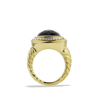 David Yurman Albion Ring with Black Onyx and Diamonds in Gold