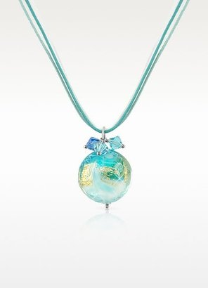 Murano House of Mare - Turquoise Glass Pendant w/ Lace