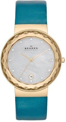 Skagen Faceted Bezel Leather Strap Watch, 35mm