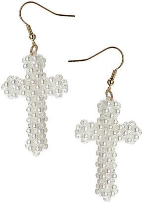 Topshop Pearl Look Cross Earrings
