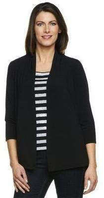 Bob Mackie Drape Front Cardigan with Sequin Stripe Shell