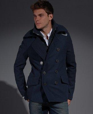 Superdry Mens Classic Pea Coat Jacket