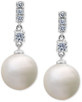 Crislu Earrings, Platinum over Sterling Silver Freshwater Pearl (8mm) and Cubic Zirconia (1/5 ct. t.w.) Drop Earrings
