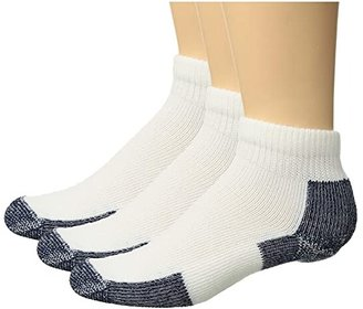 Thorlos Running Mini-Crew 3-Pair Pack (White/Navy) Quarter Length Socks Shoes