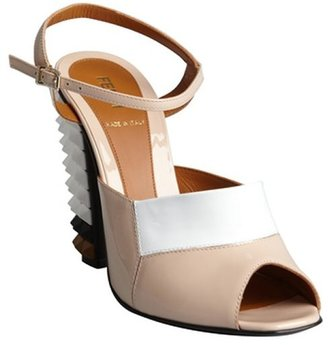 Fendi nude and white leather spiked stacked heel sandals