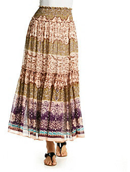 Chaudry Purple Floral Maxi Skirt