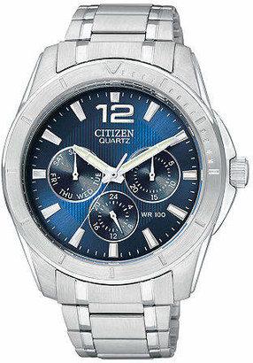 Citizen Quartz Mens Silver Tone Stainless Steel Bracelet Watch-Ag8300-52l Family
