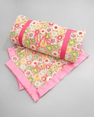 Swankie Blankie Pink Posy Toddler Blanket, Monogram