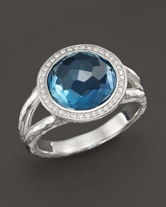 Ippolita Sterling Silver Stella Mini Lollipop Ring in London Blue Topaz with Diamonds