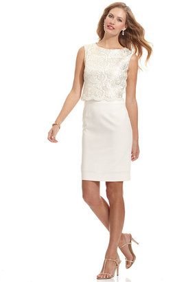 Tahari by Arthur S. Levine Tahari by ASL Dress, Sleeveless Lace Scalloped Sheath