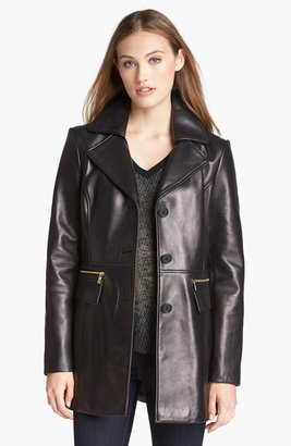 Kenneth Cole New York Button Front Leather Coat (Online Only)