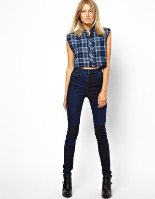 Asos Ridley High Waist Ultra Skinny Jean in Two Tone