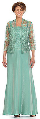 KM Collections Foil Lace Jacket Gown