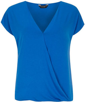 Dorothy Perkins Blue wrap jersey bubble top