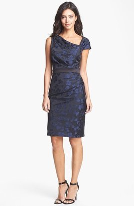 Vera Wang Jacquard Asymmetrical Sheath Dress