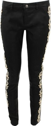 Haute Hippie Pearl Embellished Leather Pants
