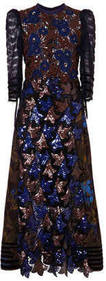 Marc Jacobs Fan And Feather Sequin Guipure Three-Quarter Sleeve Dress