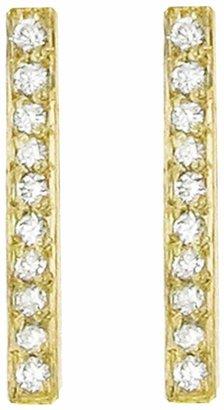 Jennifer Meyer Diamond Long Bar Stud Earrings - Yellow Gold