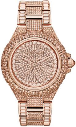 Michael Kors Mid-Size Rose Golden Camille Three-Hand Glitz Watch