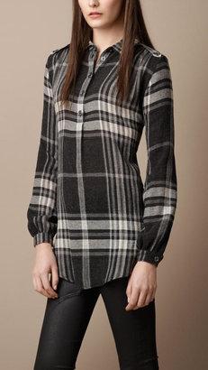 Burberry Wool Crêpe Check Shirt