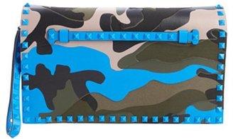 Valentino blue camo leather 'Rockstud' studded accent wristlet clutch