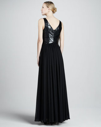 Aidan Mattox Pieced-Leather Bodice Gown