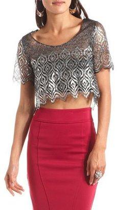 Charlotte Russe Sheer Metallic Lace Crop Top