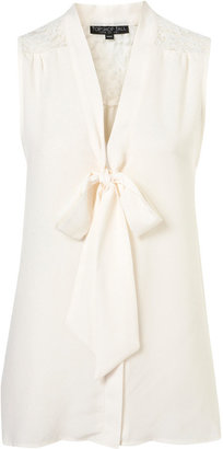 Topshop Tall Lace Insert Tie Blouse