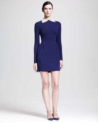 Valentino Long-Sleeve Dress with Detachable Leather Collar