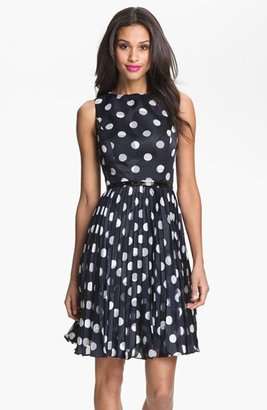Petite Women's Adrianna Papell Burnout Polka Dot Fit & Flare Dress $178 thestylecure.com