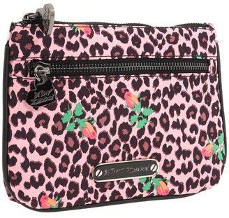 Betsey Johnson Cheetah Baby SLG's Double Zip Cosmetic