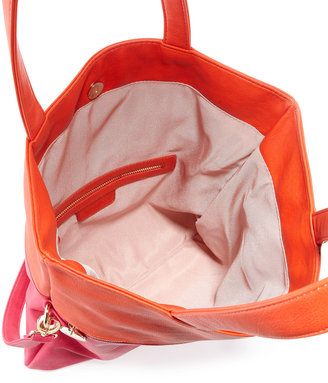 Neiman Marcus Colorblock Fold-Over Tote Bag, Fuchsia/Orange