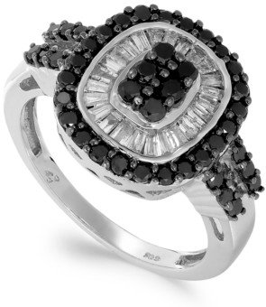 Macy's Sterling Silver Black (5/8 ct. t.w.) and White Diamond (3/8 ct. t.w.) Ring