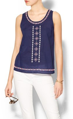 Rhyme Los Angeles Sleeveless Embroidered Navy Top
