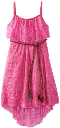 Rare Editions Girls Plus-Size 7-16 Lace High Low Dress