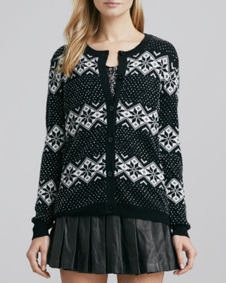 Alice + Olivia Beaded Cardigan with Snowflake Motif