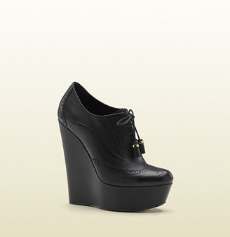 Gucci Lace-Up Brogue Wedge Bootie