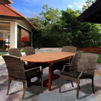 Amazonia Myers 7-Piece Wood/Wicker Oval Patio Dining Furniture Set