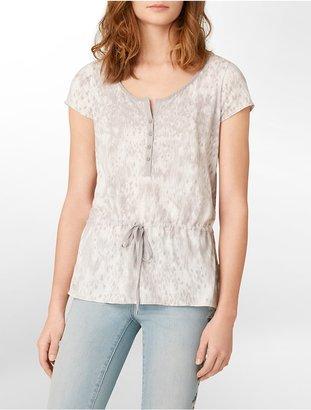 Calvin Klein Jeans Animal Print Short Sleeve Henley Top