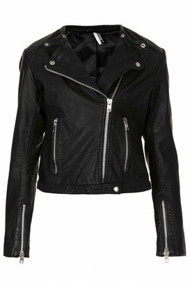 Topshop Collarless leather biker jacket with popper back lapels 100% leather. specialist leather clean only.