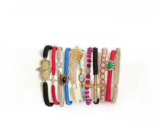 Tai CZ Wing-Charm Silk Cord Bracelet, Ivory