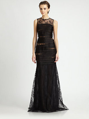 Carmen Marc Valvo Lace Organza Gown