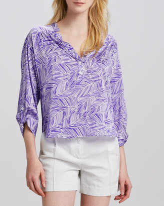 Milly Camilla Tab-Sleeve Blouse