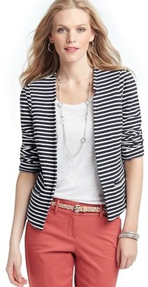 LOFT Petite Striped Cotton Terry Open Front Jacket
