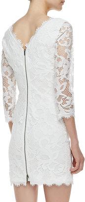 Diane von Furstenberg Zarita 3/4-Sleeve Lace Dress, White